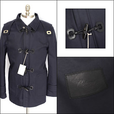 New BRIONI Navy Cotton Leather Hooded Toggle 3/4 Jacket Coat 50 40 M S NWT