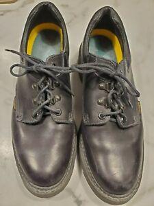 John Deere Size 9.5 Men's Shoes Black Leather Loafers Tie Up Oil Resistant Work