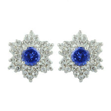 Solid 14KT White Gold 3.50Ct Natural Blue Tanzanite EGL Certified Diamond Studs