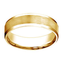 10k Yellow Gold Comfort Fit Satin High Polished Bevel Edge Band Ring Sz 5