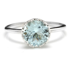 2.00 Carats Natural Aquamarine 14K Solid White Gold Ring