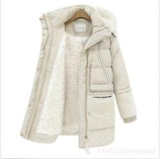 Chic Womens Hooded Cotton Lined Down Coat Warm Snow Jacket Lamb Slim Overcoat