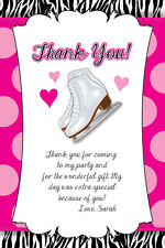 Ice Skating Birthday Party Thank You Card Note Skates Girl Zebra Print 13th 10th