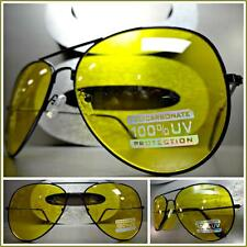 Mens CLASSIC VINTAGE RETRO Style SUN GLASSES SHADES Black Wire Frame Yellow Lens