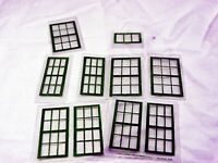 Set of Green Repro Windows for American Flyer Trains Mystic Station