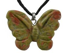 Butterfly Unakite Gemstone Pendant Hand Carved Stone Necklace