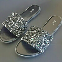 H2K Dream BLACK Glitter Bling Sparkle Fancy Slides Sandals Low Flats New In Box