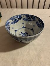 "Large Blue and White Blue Willow Porcelain Bowl 7 1/4""Diameter X 3 3/4"" High"
