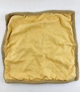Pottery Barn Pillow cover 20x20 Mustard Sunshine Yellow 100% Linen w/ Jute trim