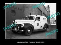 OLD LARGE HISTORIC PHOTO OF SEATTLE USA, WASHINGTON STATE POLICE PATROL CAR 1940
