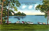 Vintage Postcard -  Lake Champlain From Birdland Water Boats Vermont VT #1860