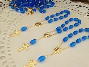 30 Pc Mini Rosary BLUE/Baptism Favor/recuerdos De Bautizo  /communion Favor