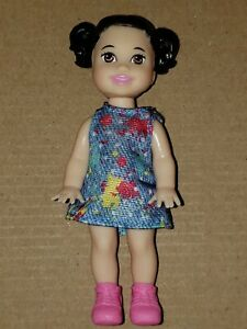 CHESEA DARK HAIRED  DOLL WITH PIGTAILS, DENIM DRESS,PINK SHOES