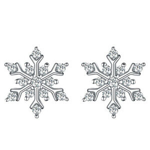18k white gold filled made with crystal earrings flower snowflake stud
