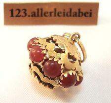 Großer Bettelarmband Anhänger 750 er Gold Karneol Charms Charm / AU 184