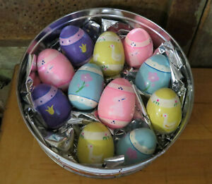Vintage Easter Egg Lot of 11 hand painted Wood eggs Rabbits Ducks Flowers in Tin
