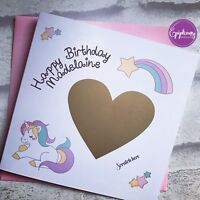 Personalised Birthday Card- Scratch the Surprise / Present, Unicorn