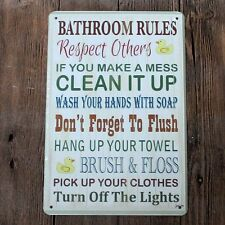Metal Tin Sign bathroom rules Bar Pub Home Vintage Retro Poster Cafe ART