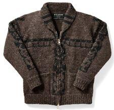 Filson Totem Hand Knit Full Zip Cowichan Sweater Brown Black Men XS NWT MRP $595