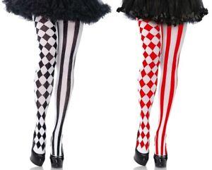 Harlequin Tights, Jester, Clown Fancy Dress, Cards, Diamonds/Stripes, Mismatch