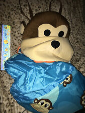 IDEA NUOVA Back Pack Sock Monkey Pillow & Blue Monkey Print Child Sleeping Bag