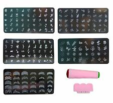 Nail Art Stamping Kit Decoration 5 large Image Plates. Gift for Girl Woman