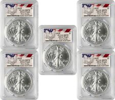 2018 $1 American Silver Eagle PCGS MS70 First Strike - Eagle Label Lot of 5
