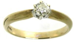 Ladies 9Carat 9ct yellow gold diamond rings solitaire engagement size J  J1/2