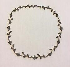 """Vintage 925 Sterling Silver Marcasite Floral Choker Necklace 16.5"""" I11"""