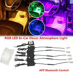 1 In 5 RGB LED In-Car Decor Atmosphere Light w/ APP Control 6M Optic Fiber Lamp