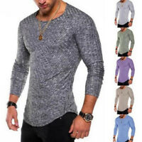 Fashion`Men's Slim Fit T Shirt Long Sleeve Muscle Tee T-shirt Casual Tops Blouse