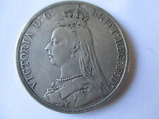 VICTORIA JUBILEE HEAD SILVER CROWN (5 SHILLINGS)  DATED 1889  F+