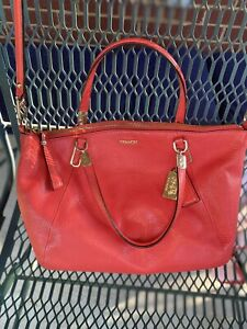 Authentic COACH Handbag True Red Leather Convertible Satchel Purse Shoulder Bag