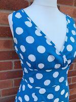Joules Blue White Polka Dot Sleeveless 100% Cotton Skater Dress Ladies 12 A1