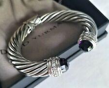 DAVID YURMAN RARE 10mm Diamond Amethyst Cable Bracelet - Stunning! $2500