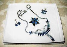 Sherman Jewels of Elegance - Signed Blue Combination Necklace, Brooch Earrings