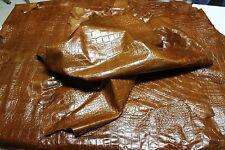 Italian lambskin leather SHINY NATURAL TAN DISTRESSED CROCODILE EMBOSSED 8sqf