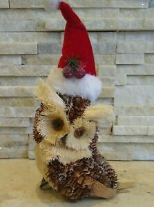 "Owl Straw natural Christmas decor ~9"" pine cones vintage handmade santa hat"