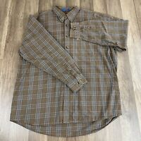 Pendleton Cotton Street Shirt Brown Plaid Long Sleeve Men's XL