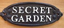 CAST IRON SIGN SECRET GARDEN OVAL BLACK ANTIQUE STYLE