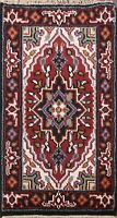 Geometric Hand-knotted Indo Heriz Oriental Area Rug Wool Kitchen Carpet 2x3 ft