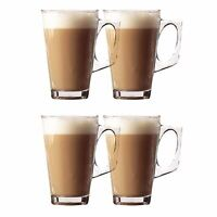 Pack Of 4 240ml Latte Glasses Tea Cappuccino Glass Tassimo Coffee Cups Mugs