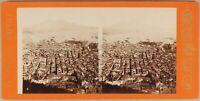 Italia Panorama Da Napoli c1865 Foto Sommer Stereo Vintage Albumina