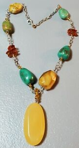 Silpada Sterling Silver Amber, Turquoise Polished Statement Necklace.