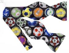 Soccer Bow tie / Colorful Soccer Balls on Black / Tournament / Self-tie Bow tie