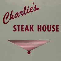Vintage 1950s Charlie's Steak House Restaurant Menu Oak Grove Kentucky