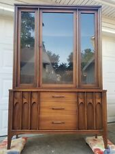 Mid-century modern 1960s Brazilia Style China Cabinet Walnut Hutch Display
