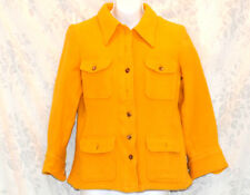 Bogner Yellow Wool Button Jacket Coat Club Sophisticated Spice Woven Retro