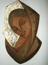 "VINTAGE HAND CARVED ladies head Mother Mary? 14"" wall hanging from Germany"