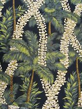 Hawaiian Quilting Fabric Blueblack with Leis and Palm Trees NEW!